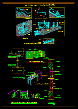 دانلود نقشه اتوکد جزییات اجرایی وال پست در دیوارها و جانپاه بام DWG